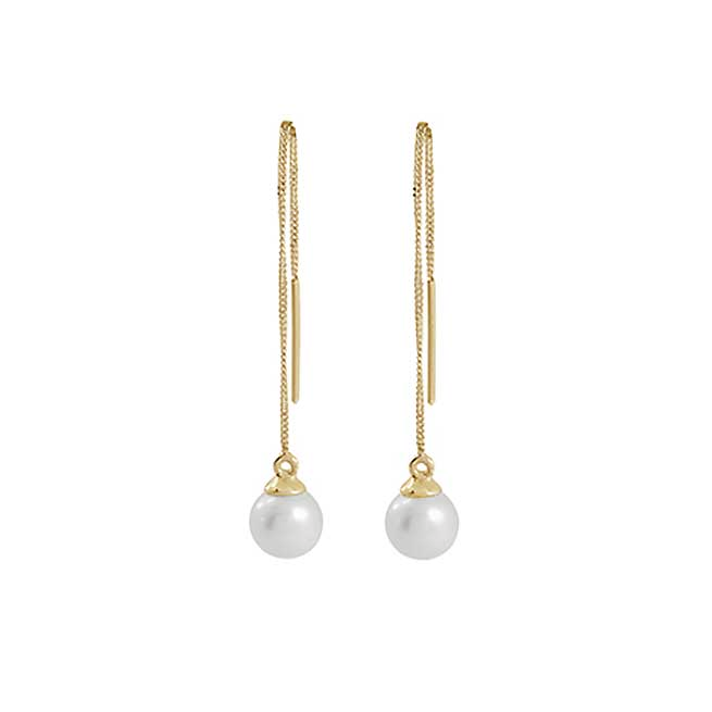 9ct Yellow Gold Pearl Pull Throughs