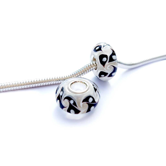 Swirled Diamond Bead Charm